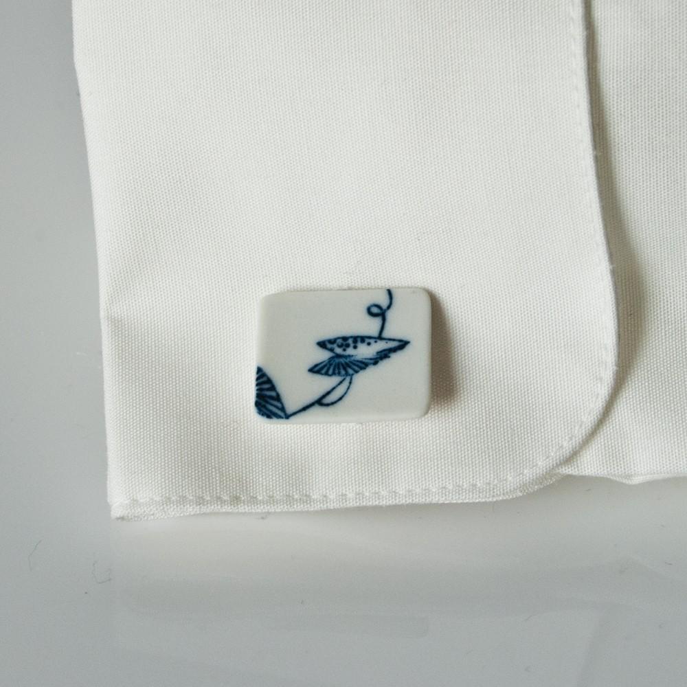 """Manschettenknöpfe - """"blaue Blätter"""""""